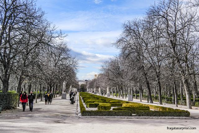 Alameda no Parque do Retiro, em Madri
