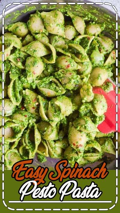 Easy Spinach Pesto Pasta | yupitsvegan.com. Simple vegan spinach and basil pesto coats shell pasta for this fresh, healthy spring dish.