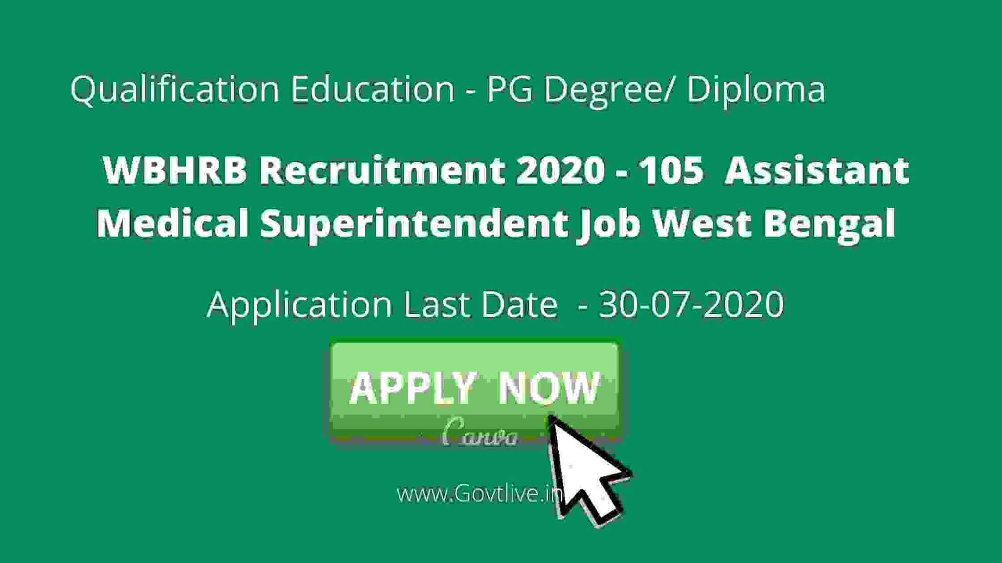 WBHRB Recruitment 2020 - 105  Assistant Medical Superintendent Job West Bengal 2020