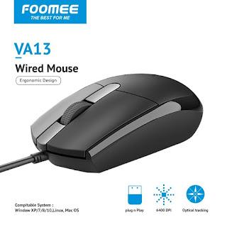Mouse FOOMEE VA13 1200 DPI Wired 1.7M Mouse Ergonomic Design Kabel USB