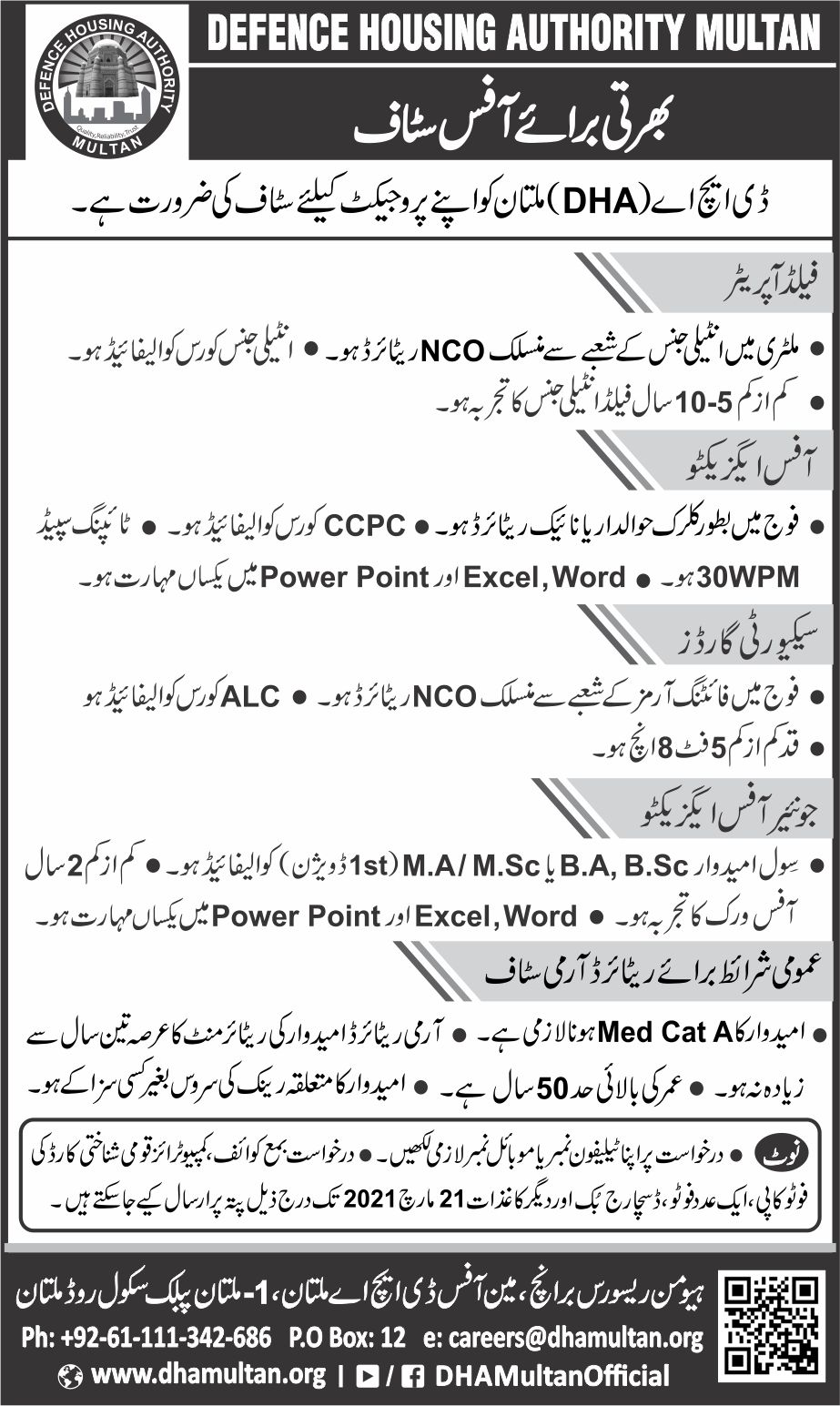DHA Defense Housing Authority Multan Jobs 2021 Field Operator ,Office Executive, Security Guard, Junior Office Executive  Latest jobs in DHA