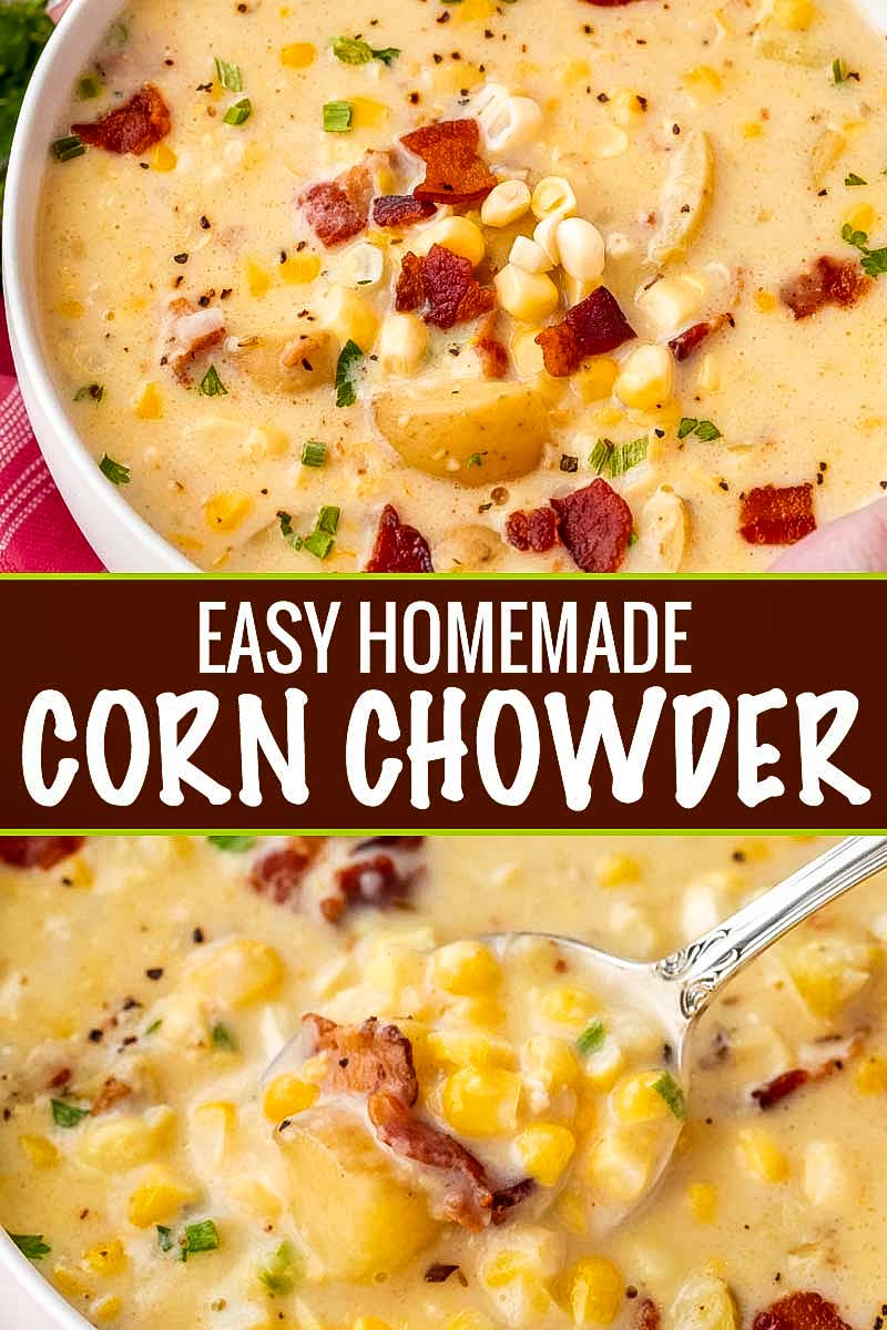Cozy up to a big bowl of this homemade corn chowder! Easy to make with either fresh or frozen corn, it's a great year-round soup!