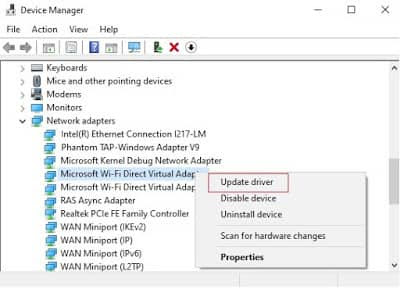 Enable Virtual Adapters in The Device Manager