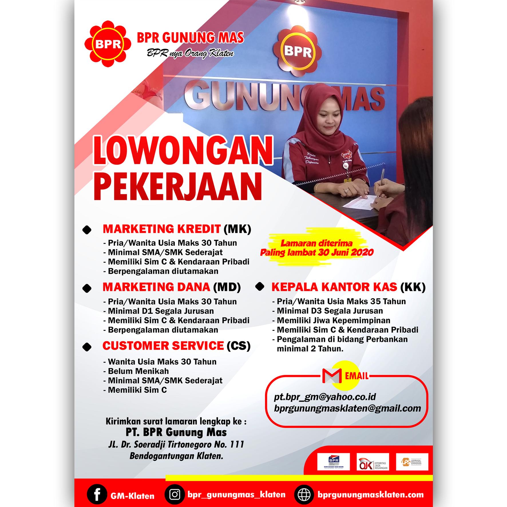 Loker Bpr Gunung Mas Klaten Berbagai Posisi Sma D3 S1 Loker Swasta