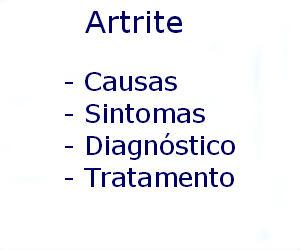 Artrite causas sintomas diagnóstico tratamento prevenção riscos complicações
