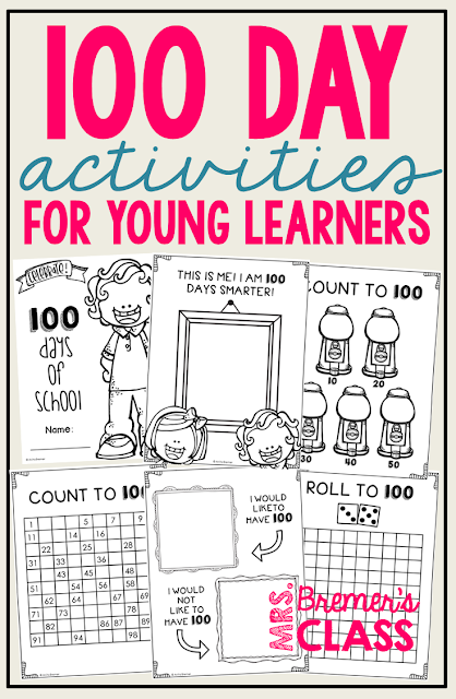100 Day Activities for PreK-1st Grade. Includes 10 fun activities plus 100 Day certificates!