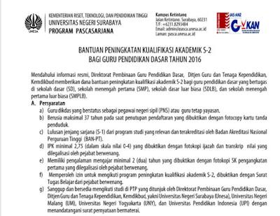 BANTUAN KUALIFIKASI AKADEMIK S-2 BAGI GURU SD, SMP dan SMPLB TAHUN 2016
