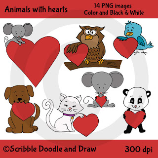 Animals holding hearts clip art dog owl bird cat mouse panda