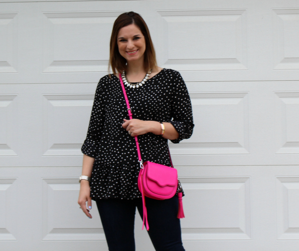 polka dot top, pink crossbody, statement necklace