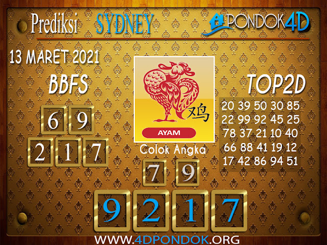 Prediksi Togel SYDNEY PONDOK4D 13 APRIL 2021