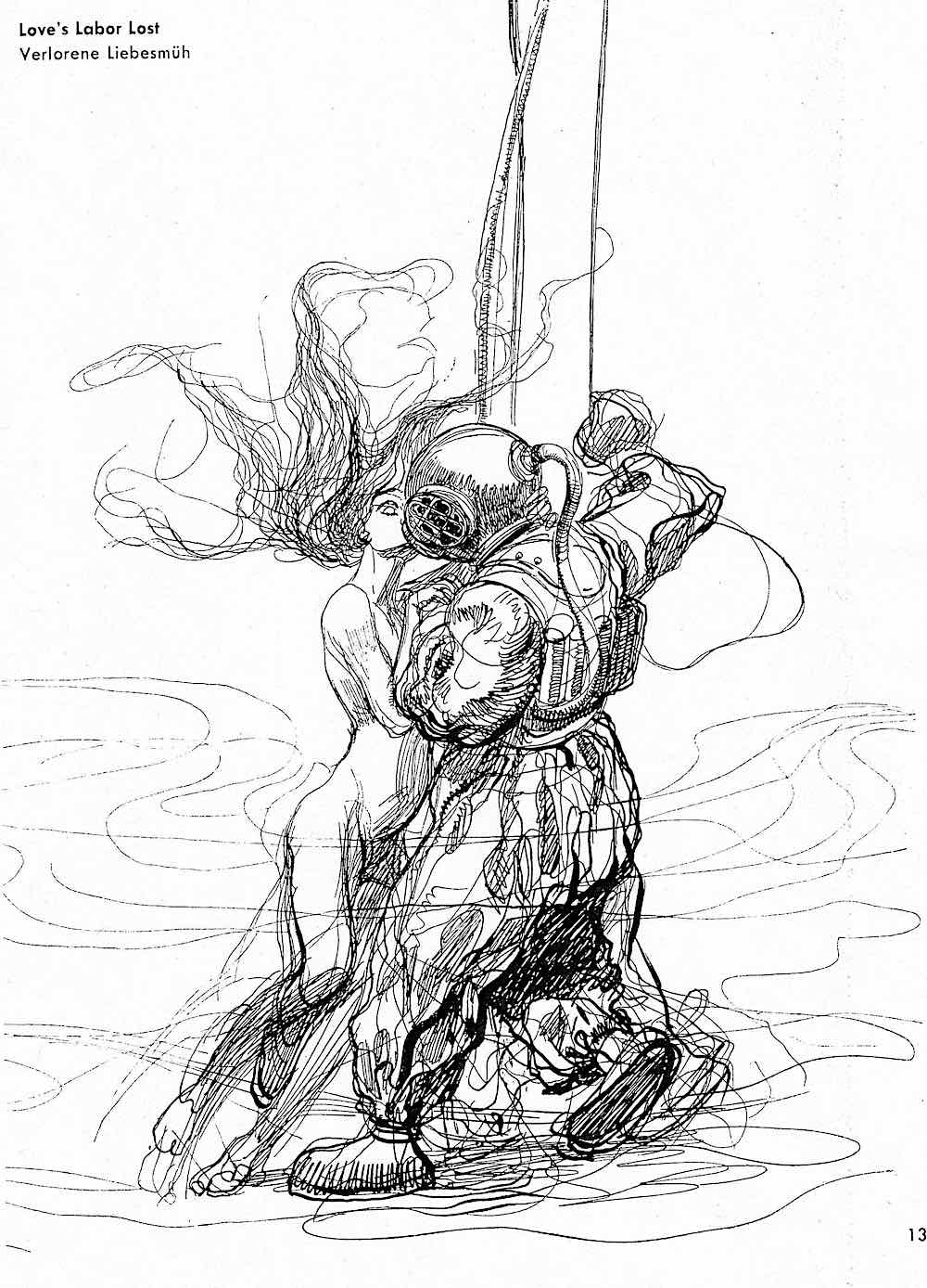 Heinrich Kley, Love's Labor Lost, a deep diver and a mermaid