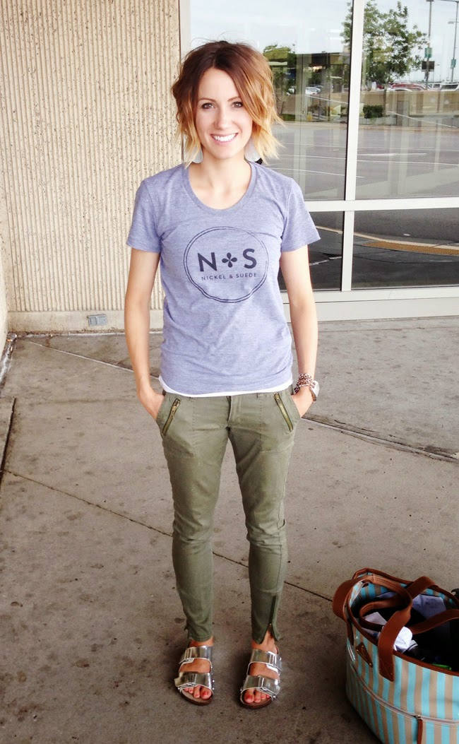 graphic tee, olive skinnies, silver birks