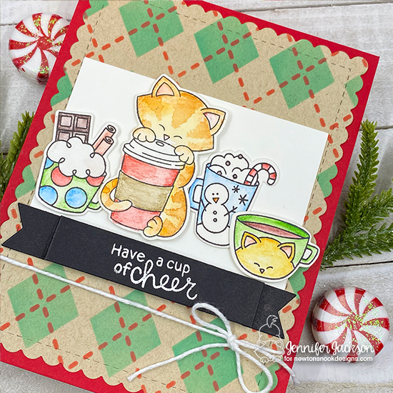Cup of Cheer card by Jennifer Jackson | Newton Loves Coffee and Cup of Cocoa Stamp Sets and Argyle Stencil Set by Newton's Nook Designs #newtonsnook