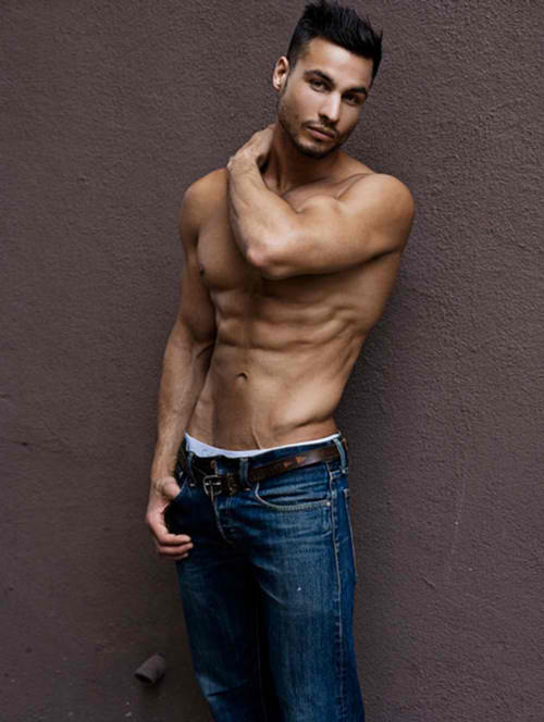 Hunk in Blue Jeans Washboard Abs