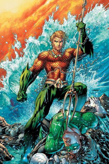Aquaman en los cómics, dibujado por Jim Lee