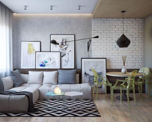papel de parede tijolinho branco e parede de cimento queimado