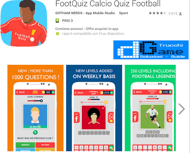 Soluzioni FootQuiz Calcio Quiz Football di tutti i livelli | Walkthrough guide