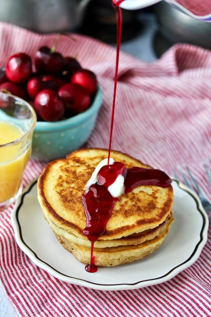 Delicious Sourdough Pancakes with Hibiscus Syrup