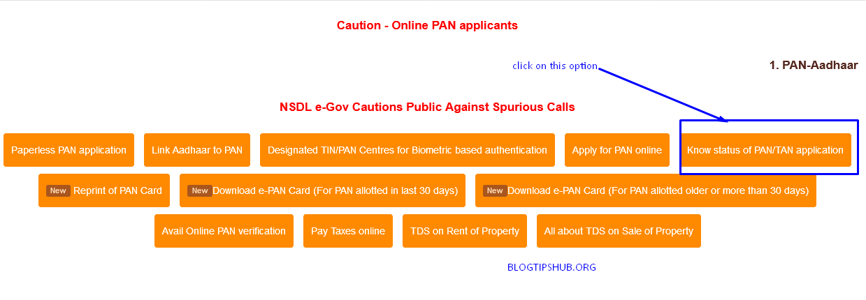 know status of pan application option