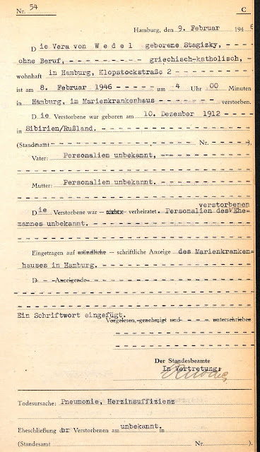 Death Certificate - Vera von Wedel born Stagizky (Ancestry - Hamburg Death Records)