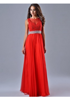 A-line Scoop Floor-length Chiffon Prom Dresses/Evening Dresses