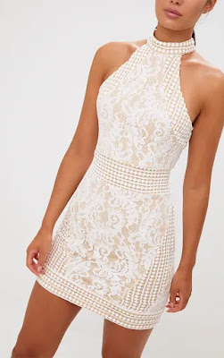 White High Neck lace crochet bodycon prom dress design