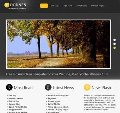 Toodnen Dark Joomla 2.5 Template from globbersthemes.com