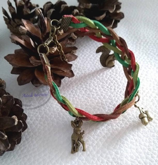 """bransoletka handmade z zamszowych sznurków """"Jesienny las"""""""
