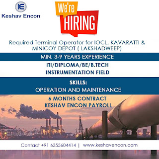 ITI/ Di[ploma/ BE/B.Tech Required Terminal Operator for in IOCL Vadodara, On Contract Role Job
