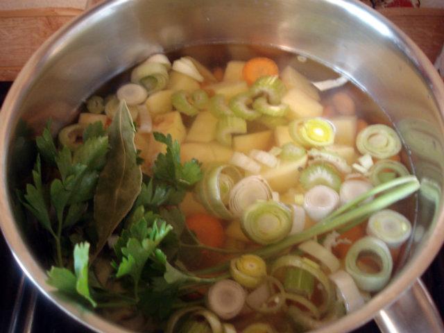 vegetables in soup pot
