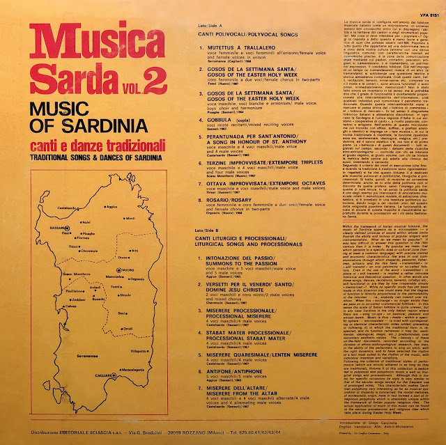 Musica Sarda musique sarde traditionnelle polyphonies polyphony anthology of religious polyvocal music from Sardinia (Sarda)