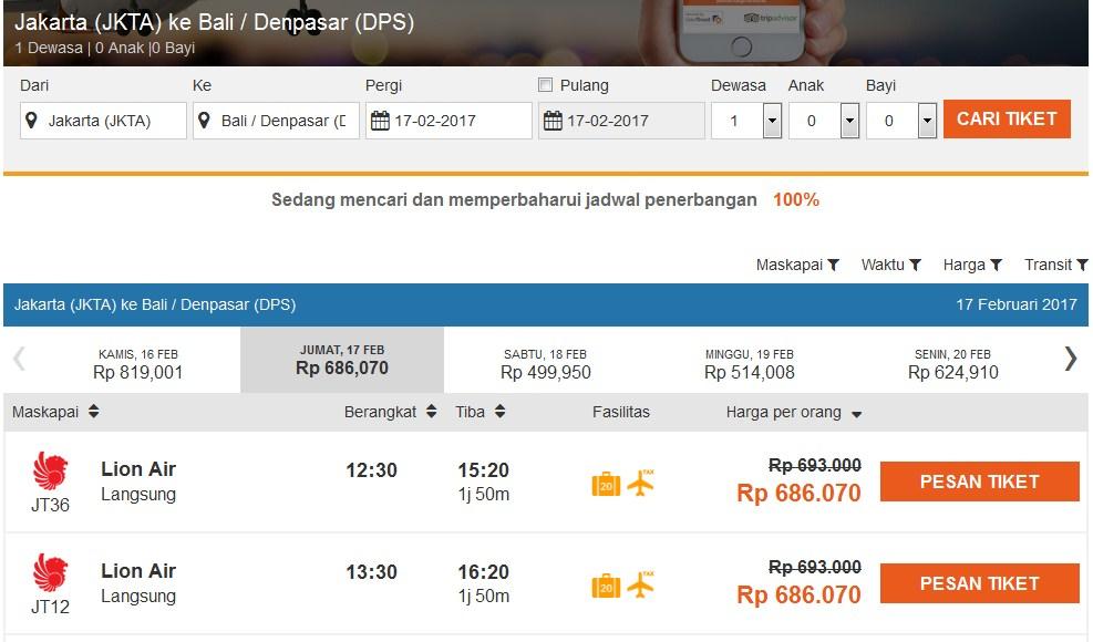 Jadual penerbangan yang tersedia untuk pesanan anda