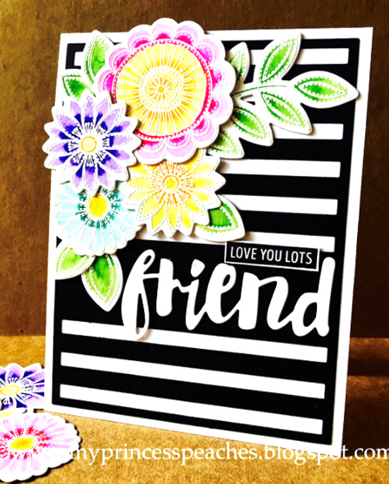 Funky Flowers stamp set and Die-namics, Striped Sentiment Strip Cover-Up - Lisa Young #mftstamps