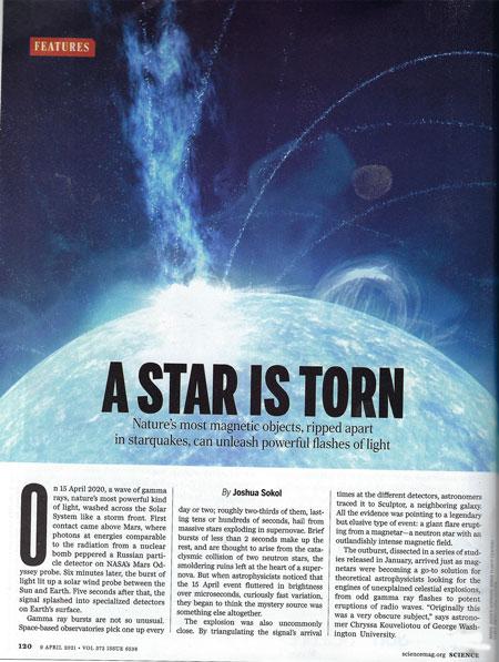 Magnetar flares as source of gamma ray bursts (Source: J. Sokol, Science, April 9)