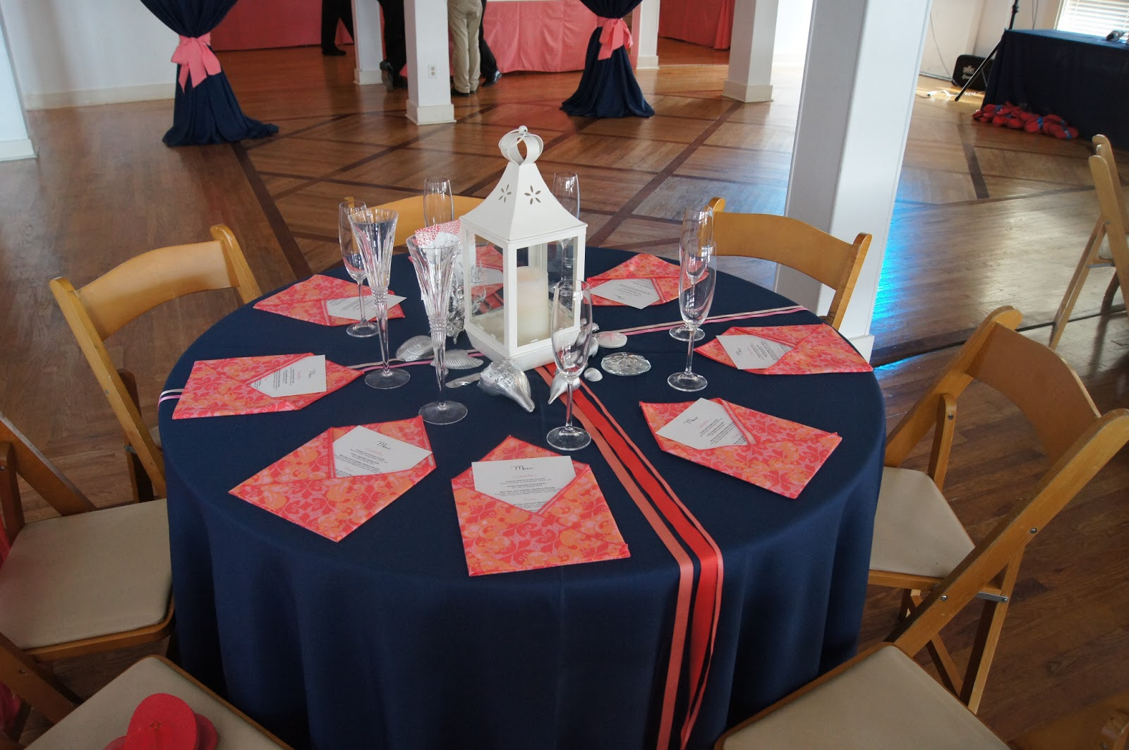 navy blue and coral wedding decorations bonnieprojects wedding wednesday coastal cool centerpieces 6114