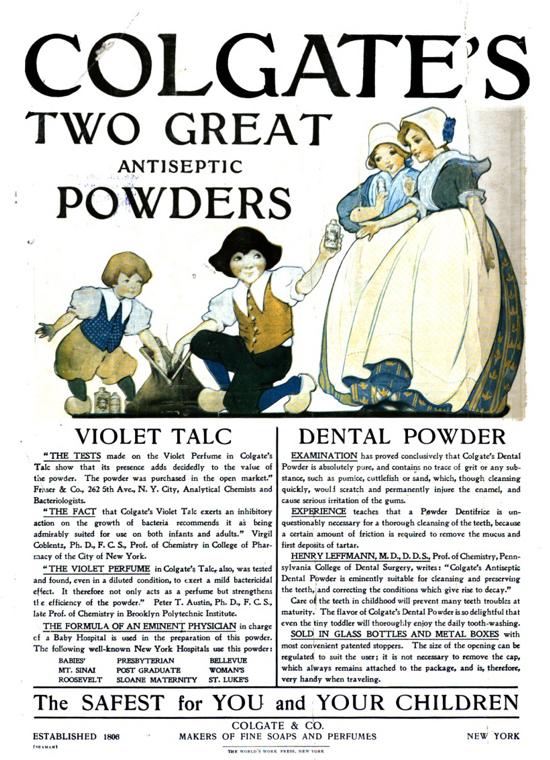 Colgate's Antiseptic Powders advertisement 1905