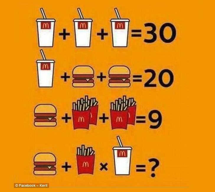 Solve McDonalds Math Puzzle