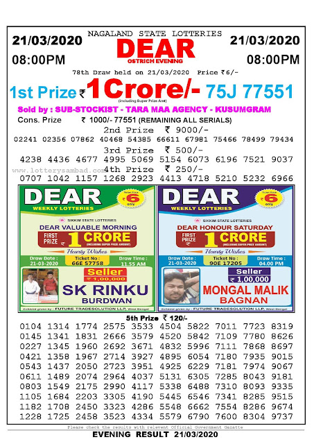 Lottery Sambad Result 21.03.2020 Dear Ostrich Evening 8:00 pm
