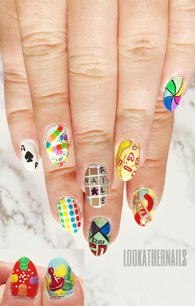board games inspired nail art