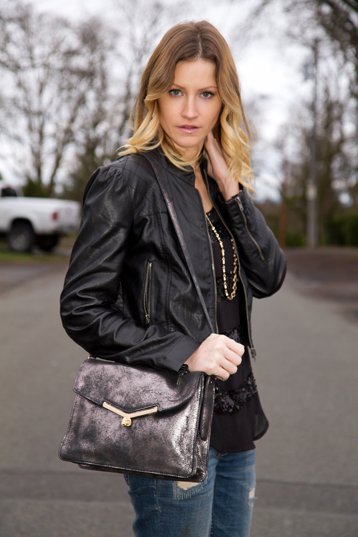 Vancouver Fashion Blogger, Alison Hutchinson, wearing Forever 21 faux leather jacket, Forever 21 Striped sequin top, Botkier Silver Bag, Zara Boyfriend Jeans, Topshop Western Boots
