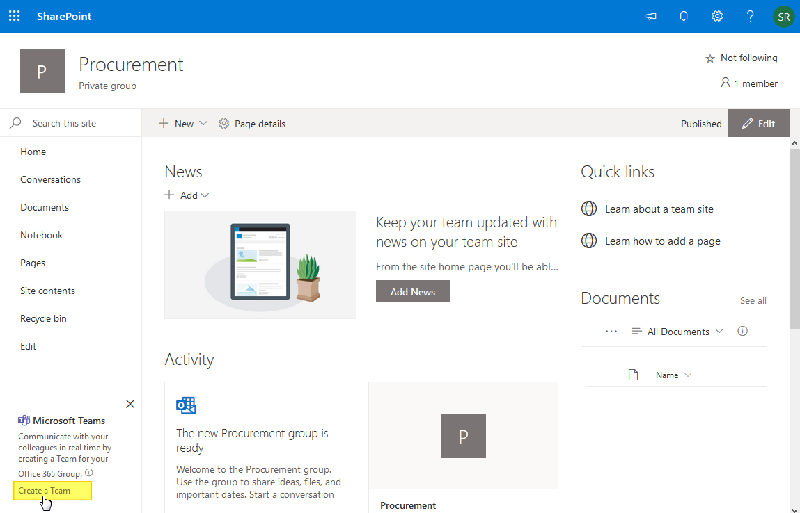 create team from SharePoint Online site