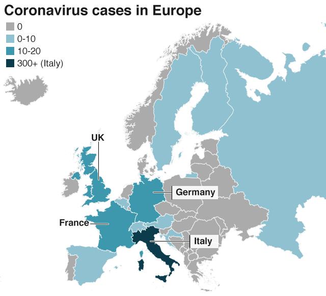 Coronavirus Map of Europe