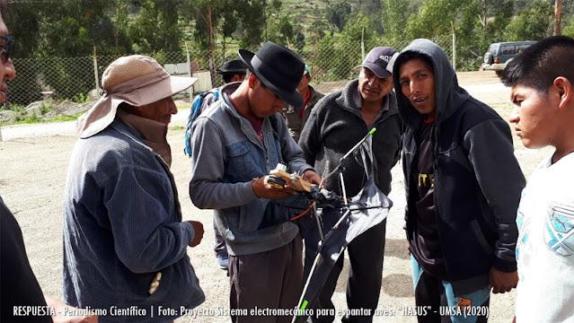 Pobladores realizando pruebas de HASUS en los cultivos del altiplano