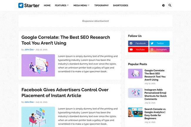 Starter Blogger Template Premium Free Download