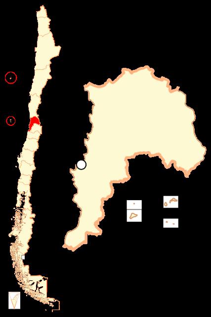 Mapa de localização da região de Valparaíso - Chile