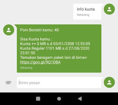 Cek sisa kuota Internet Tri pakai SMS