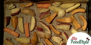 Aardappel met oranje groenten uit de oven
