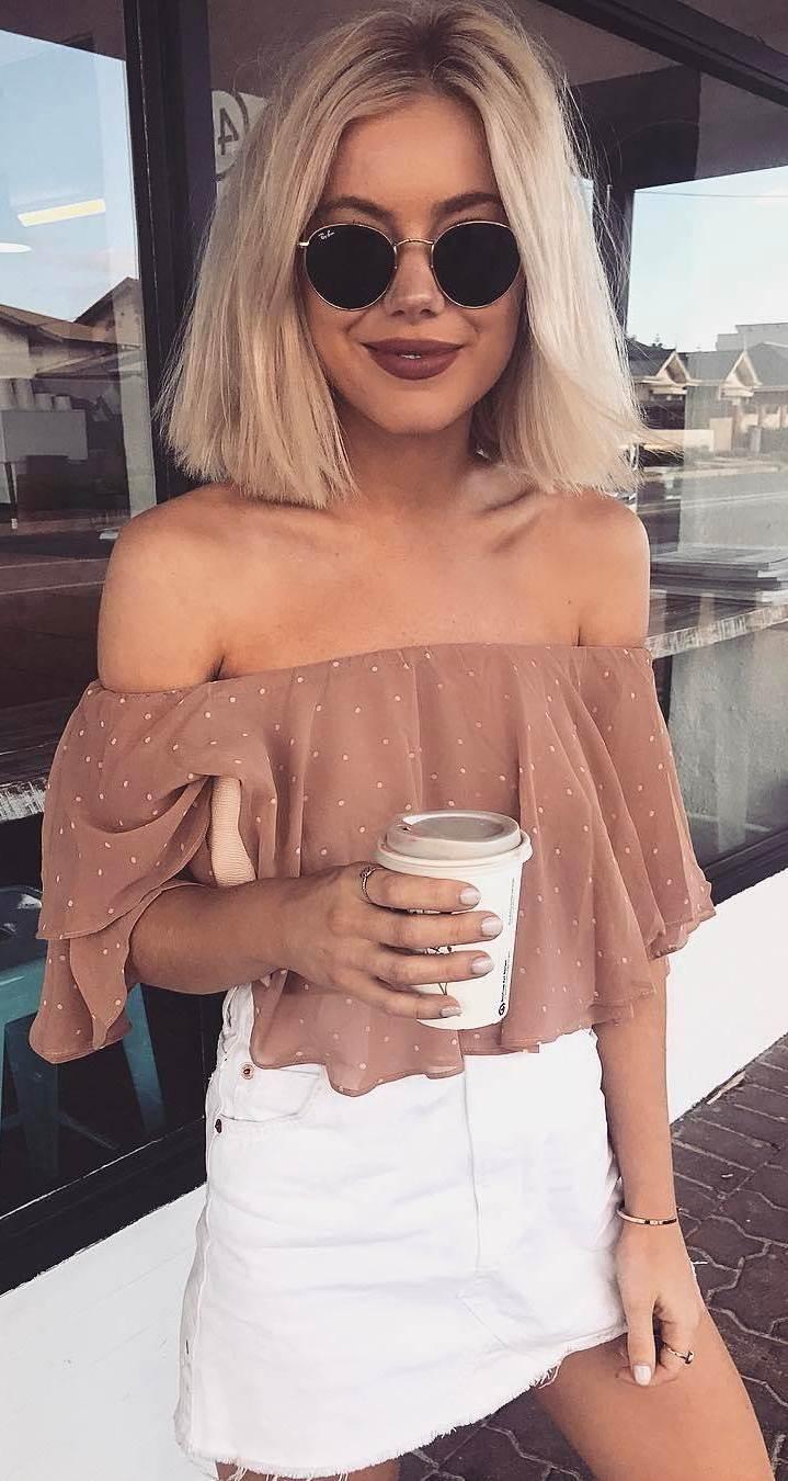 summer outfit: off shoulder top + skirt
