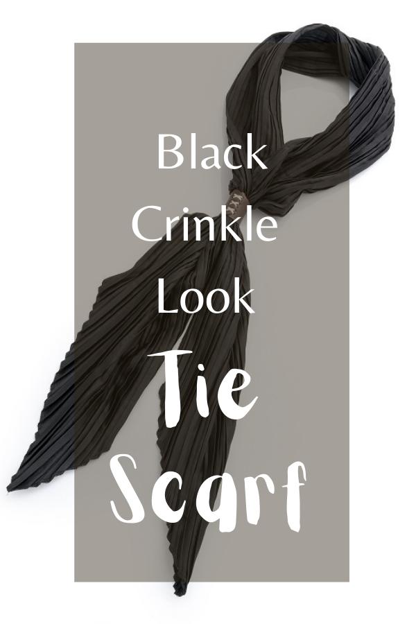 Black Crinkle Look Tie Scarf