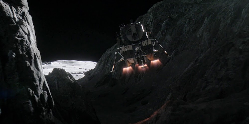 Lunar Surface Access Module (LSAM) flying in Lunar canyon in season 2 of 'For All Mankind'